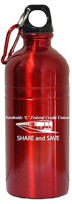 Stainless steel Red water bottle on EQP