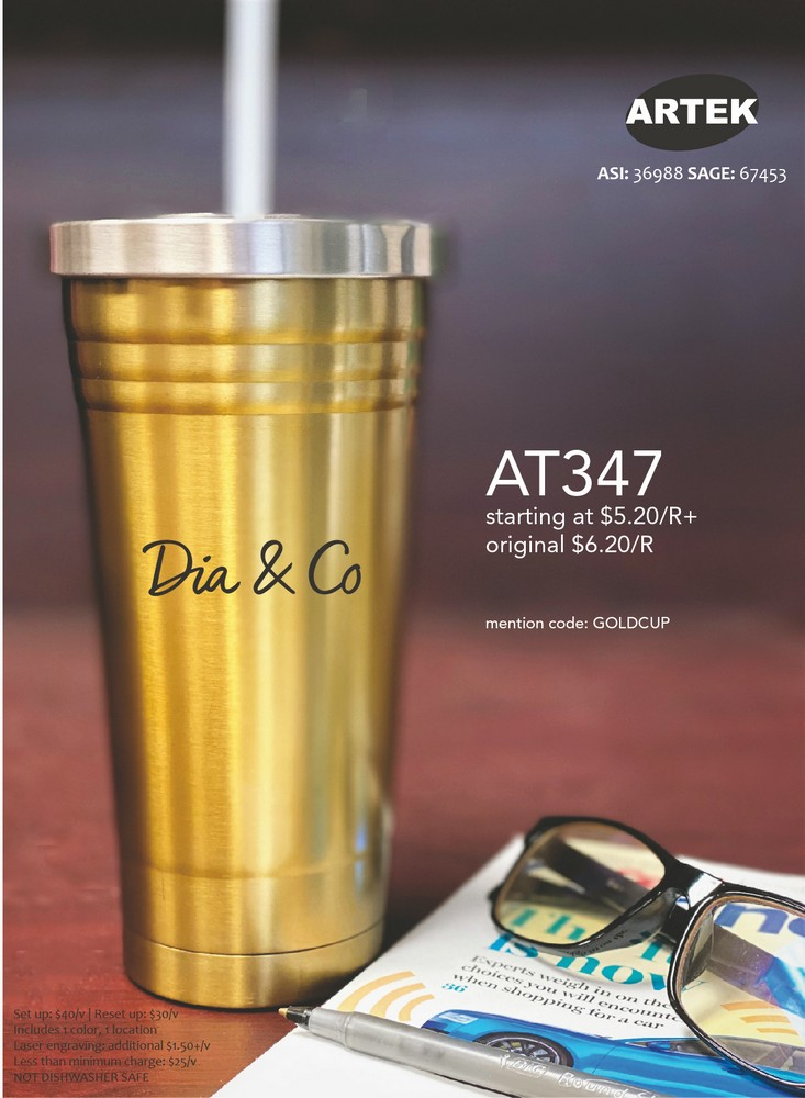 SPECIAL PRICE on 16 Oz. Double Wall Gold Tumbler
