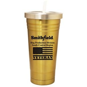 22 Oz. Double Wall S. Steel Tumbler with Straw/ Screw-On Lid, Gold Color