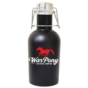 32 Oz. Single Wall Stainless Steel Beer Growler with Swing Top, Matte Black