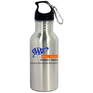 16 Oz. Wide Mouth Stainless Steel Water Bottle with Carabiner