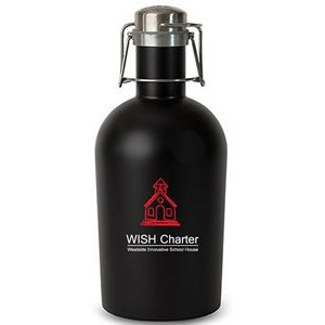 64 Oz. Matte Black Single Wall Stainless Steel Beer Growler with Swing Top