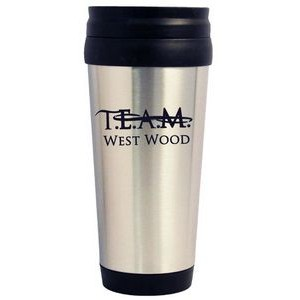 14 Oz. Silver Stainless Steel Travel Tumbler with Plastic Interior