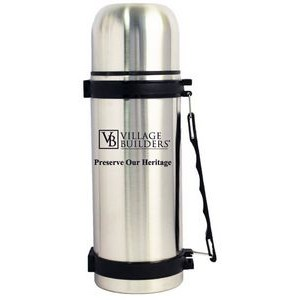 32 Oz. Stainless Steel Slim Vacuum Thermal Bottle with Strap