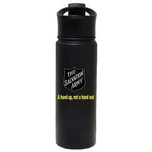 20 Oz. Stainless Steel Vacuum Insulated Bottle with Flip Closure, Matte Black