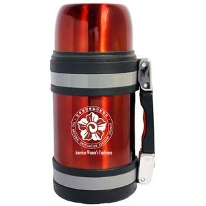 40 Oz. Vacuum Insulated Wide Mouth Bottle w/ Shoulder Strap - Red Coated