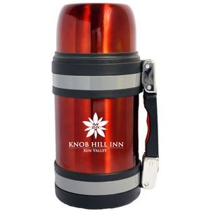 32 Oz. Vacuum Insulated Wide Mouth Bottle w/ Shoulder Strap - Red Coated