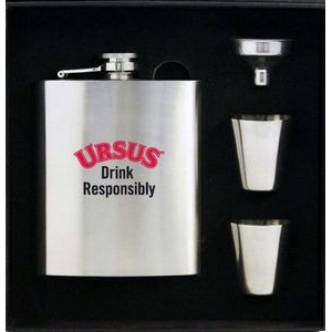 8 Oz. Stainless Steel Hip Flask Set In Black Gift Box