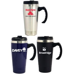Double Wall Stainless Steel Travel Mug w/Screw-on Lid, 16 Oz.