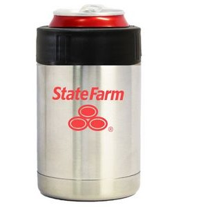 Stainless steel vacuum insulated can holder with anti-slip grip