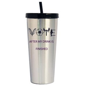 16 Oz. Stainless Steel Coffee Tumbler w/Straw/ Screw-On Lid